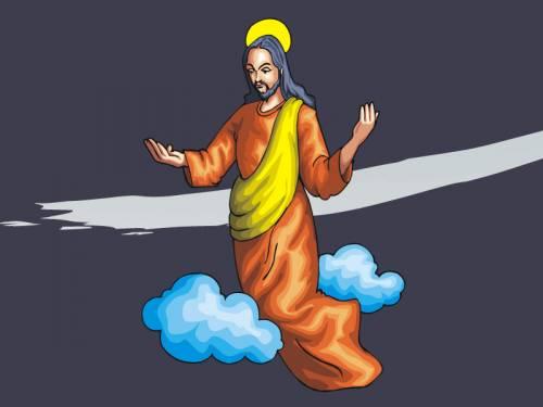 Illustration of the risen Christ ascending into heaven