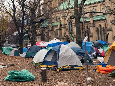 Tents outside a church