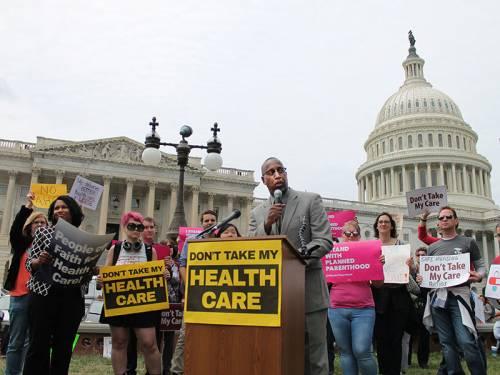 Jimmie Hawkins speaks outside the U.S. Capitol