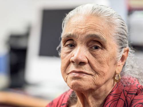 Elderly hispanic woman.