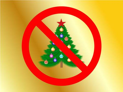 """Illustration of a Christmas tree with an international """"no"""" symbol — a red circle with a diagonal slash through it"""
