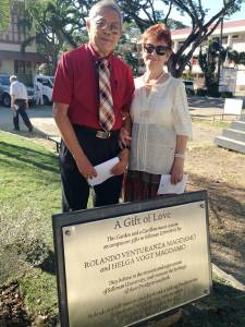 Rolando Venturanza Magdamo, a graduate of Silliman University, and his wife, Helga Vogt Magdamo, donated a Presbyterian Mission Garden and a Carillon music system to the school in honor of the centennial of the Silliman University Church (1906-2016). —Rachel Yates