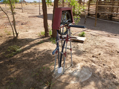 The rope pump fabricated by Mr. Alifati and Mr. Taban installed at a school outside of Juba, South Sudan