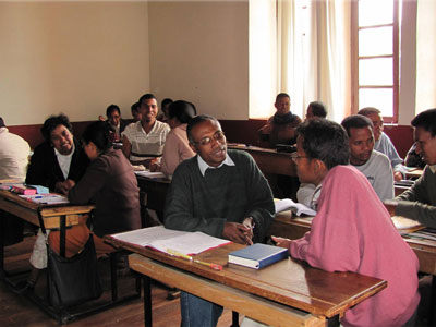 Seminary students practicing counseling techniques
