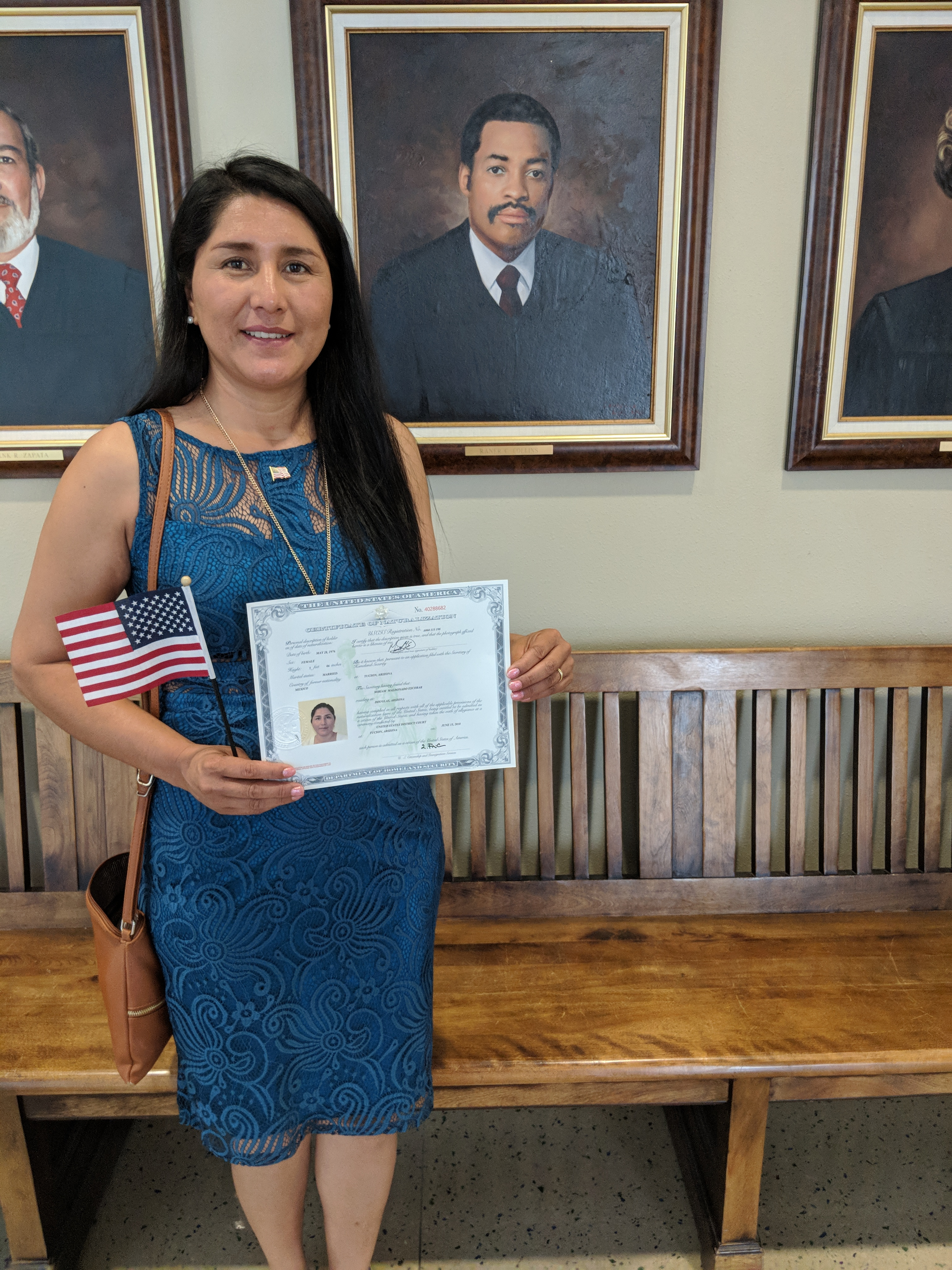 Miriam after the citizenship ceremony.