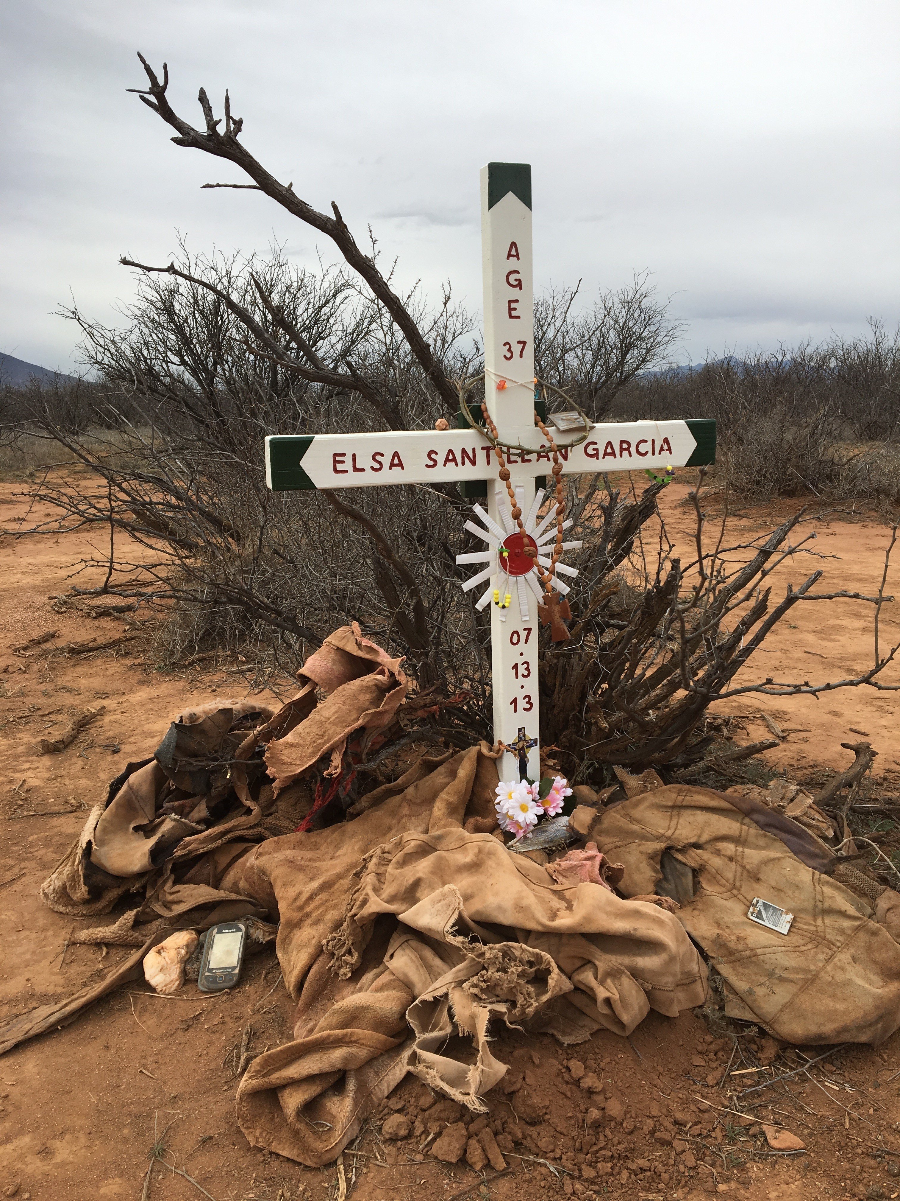 Laura Stump Kennedy at the site of Elsa's death, preparing for a ceremony of remembrance. About twice a month we join the school sisters of Notre Dame in a cross planting at or near the site of death of those who have died in Cochise County crossing the border. (Photos: Eric O. Ledermann)