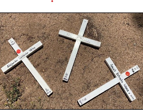 Crosses with the names of those who have died in the desert