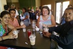 Jaime and Whitney enjoying iced coffee at the Cafe Justo y Mas dedication (photo: Trisha Maldonado)