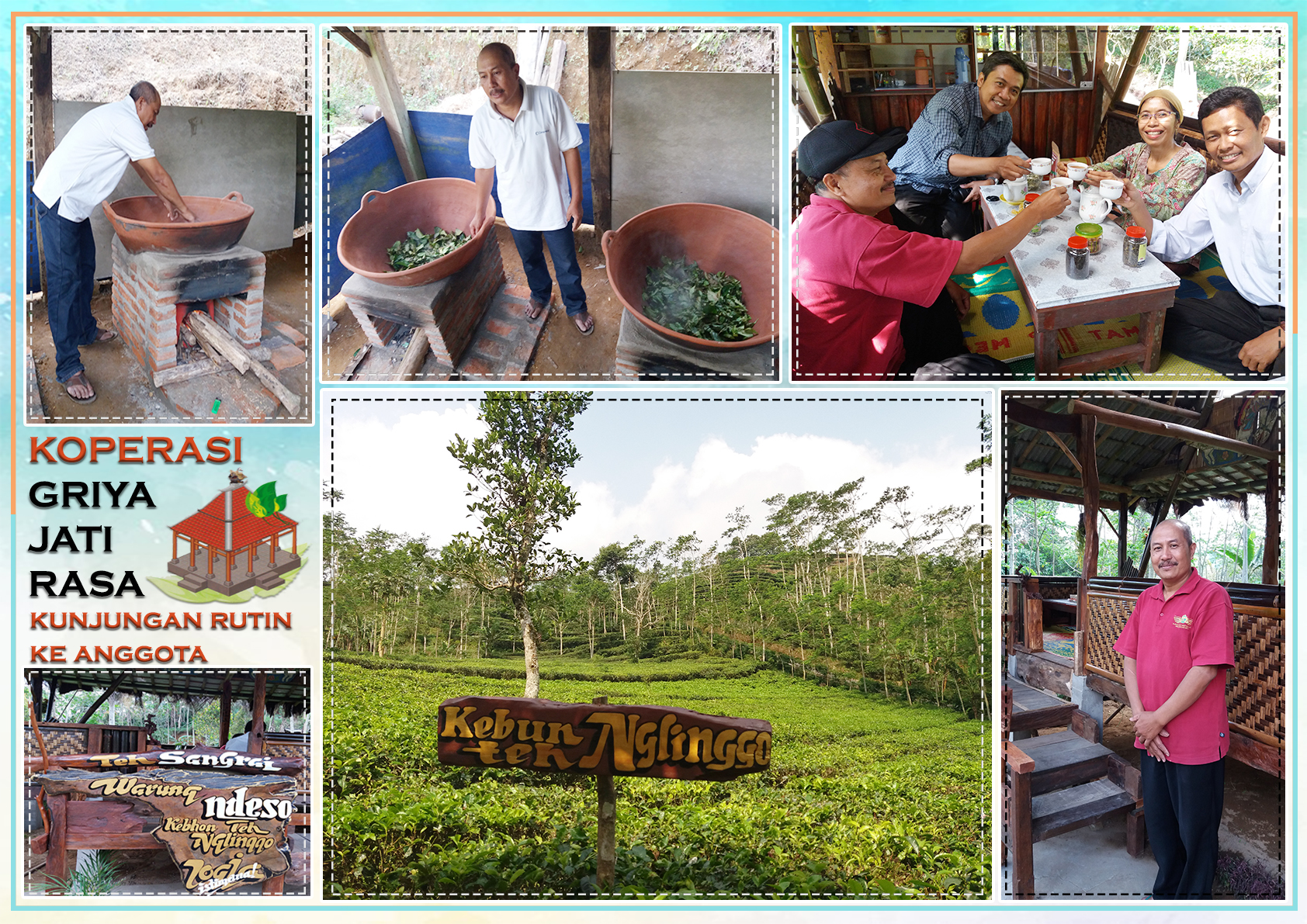 Sukahadi's tea plantation, including photos of Sukahadi roasting tea and welcoming visitors from Duta Wacana Christian University.