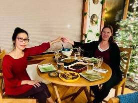 An Indonesian dinner with daughter Marion after receiving our negative COVID test results.
