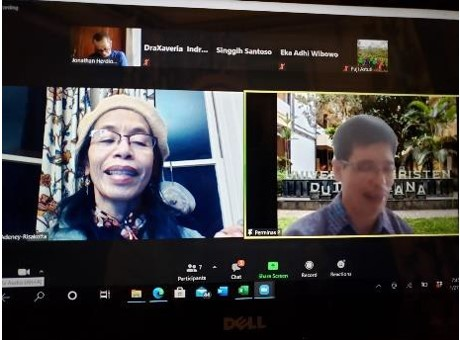 A Zoom meeting with colleagues of Business Faculty, Duta Wacana Christian University in Yogyakarta, Indonesia