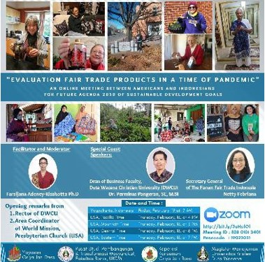 The E-poster for the Zoom meeting evaluating the fair trade products produced by HAS Cooperative.