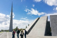 Presbyterians visited the Armenian Genocide Museum and Tsitsernakaberd Memorial Complex in Yerevan as part of the Discover Armenia mission trip with the Jinishian Memorial Program in 2015. The 44-meter spire symbolizes survival and rebirth. (Photo by Tanya Karimi)