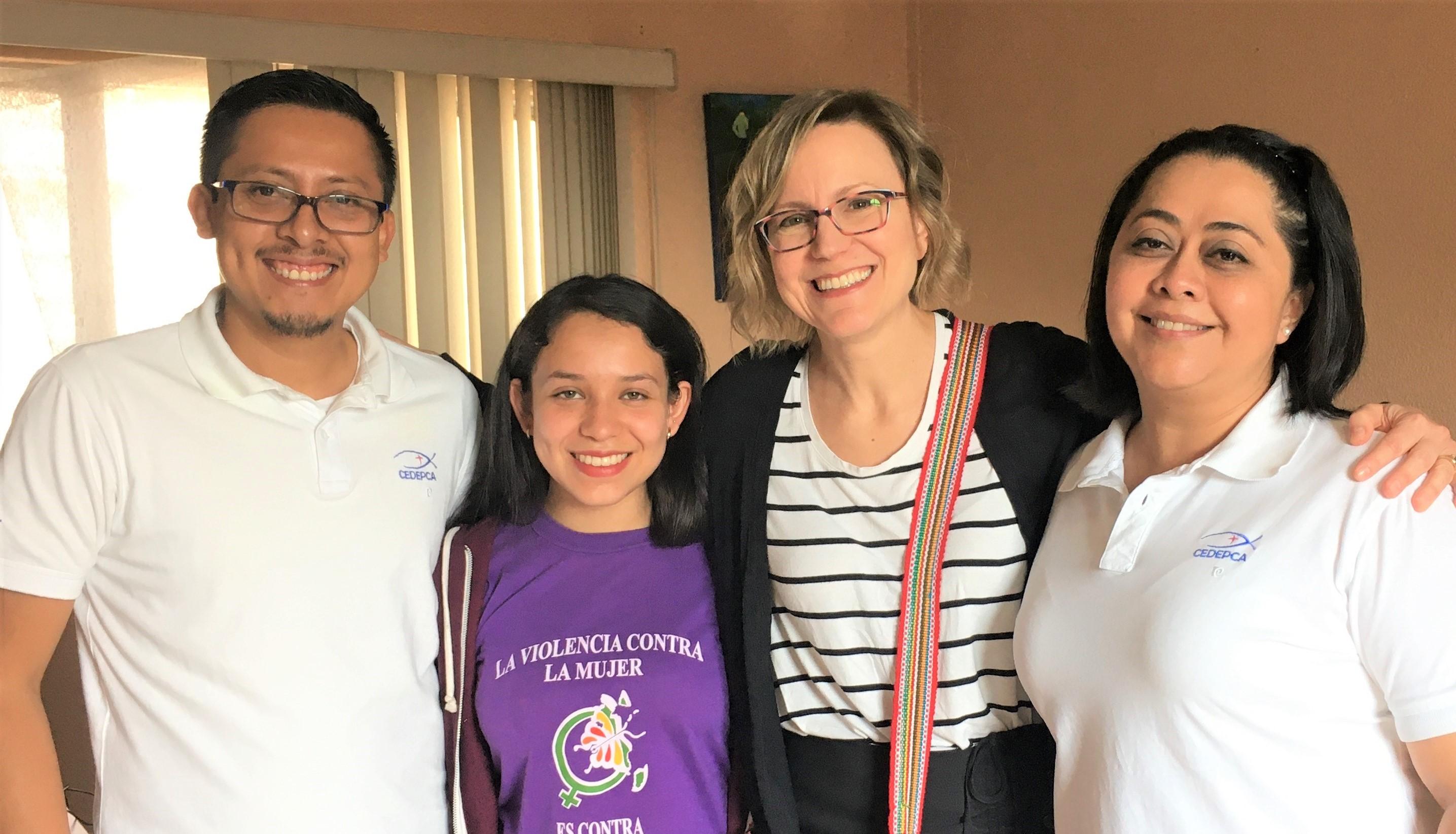 The Intercultural Encounters Staff at CEDEPCA: Esvin Sirin, Rebeca Noriega, Betsey Moe, and Nancy Carrera.
