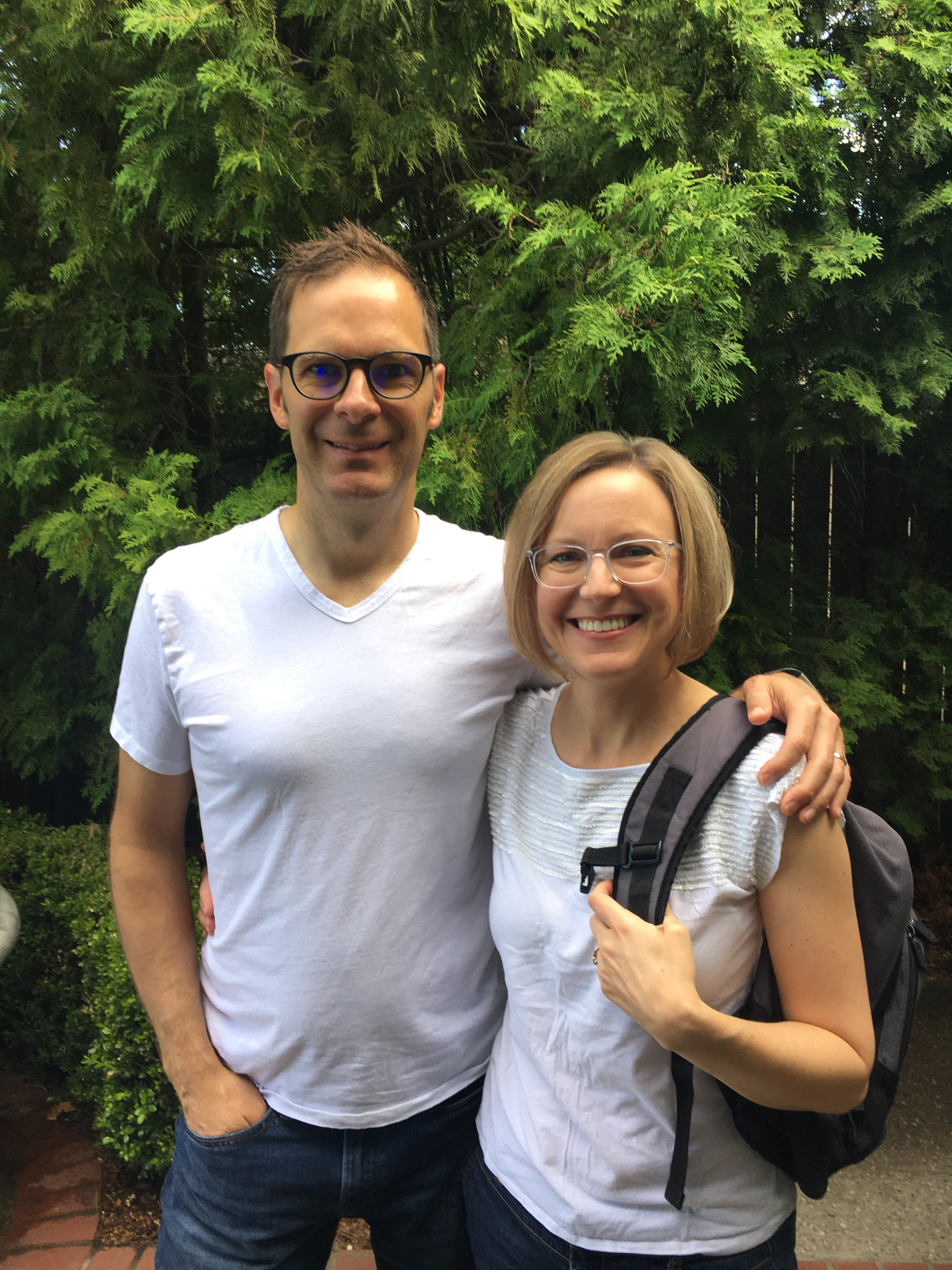 """Eric and Betsey Moe in July preparing to go live on a """"Virtual Journey to Guatemala."""""""