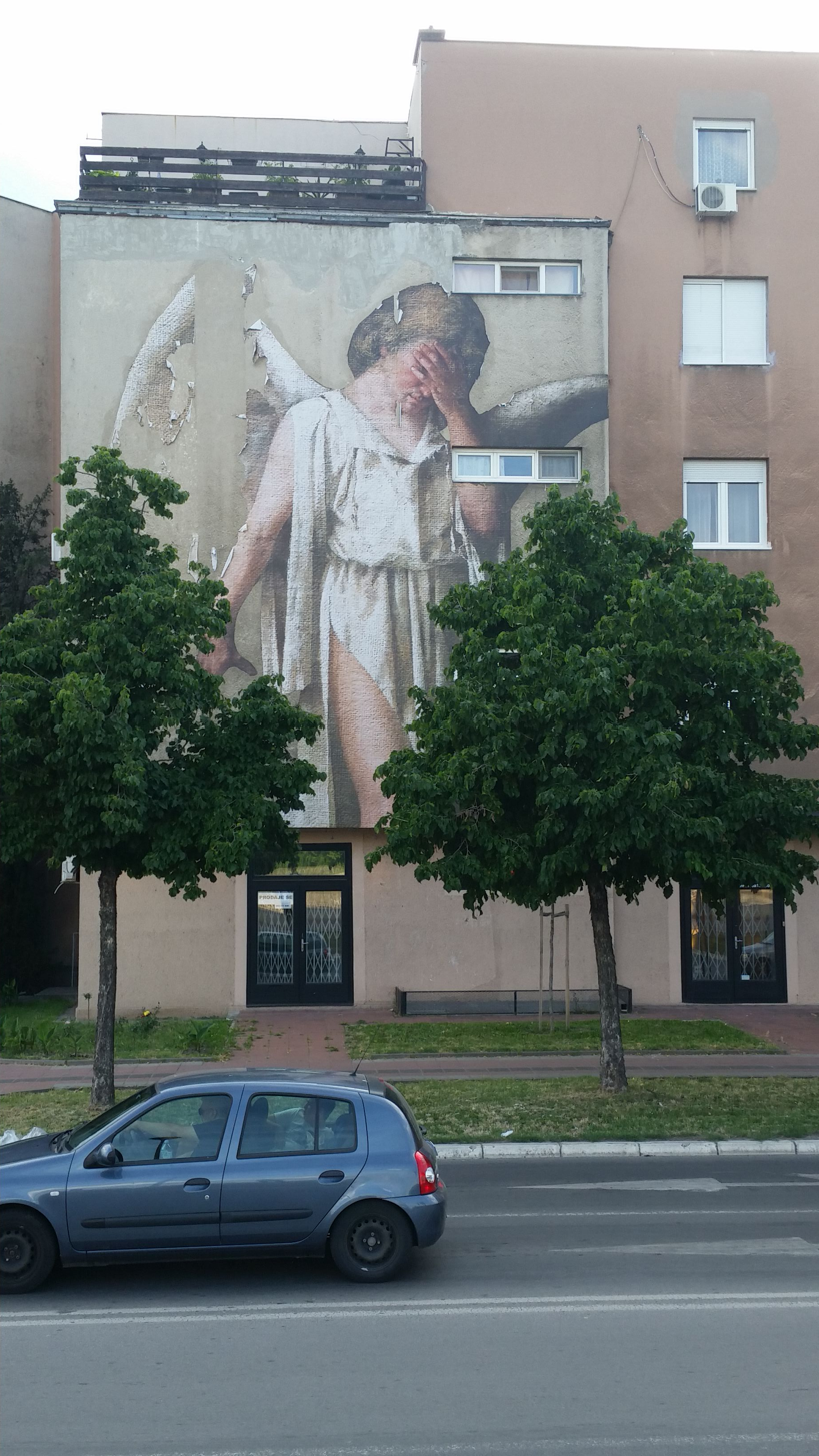 This angel mural in the Serbian City of Novi Sad serves as a reminder of the Yugoslav war.