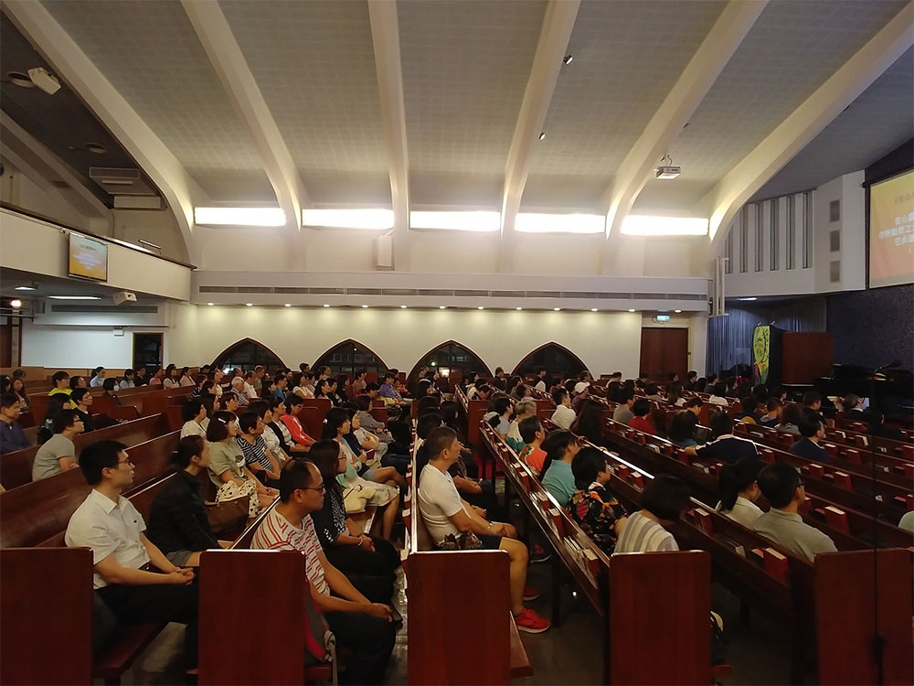 Almost 200 Christians joining together in prayer for Hong Kong at the Hong Kong Christian Council prayer meeting held July 10.