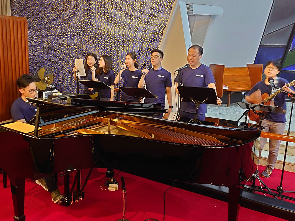 A youth band from the Anglican Church leading the music at the Hong Kong Christian Council prayer meeting.