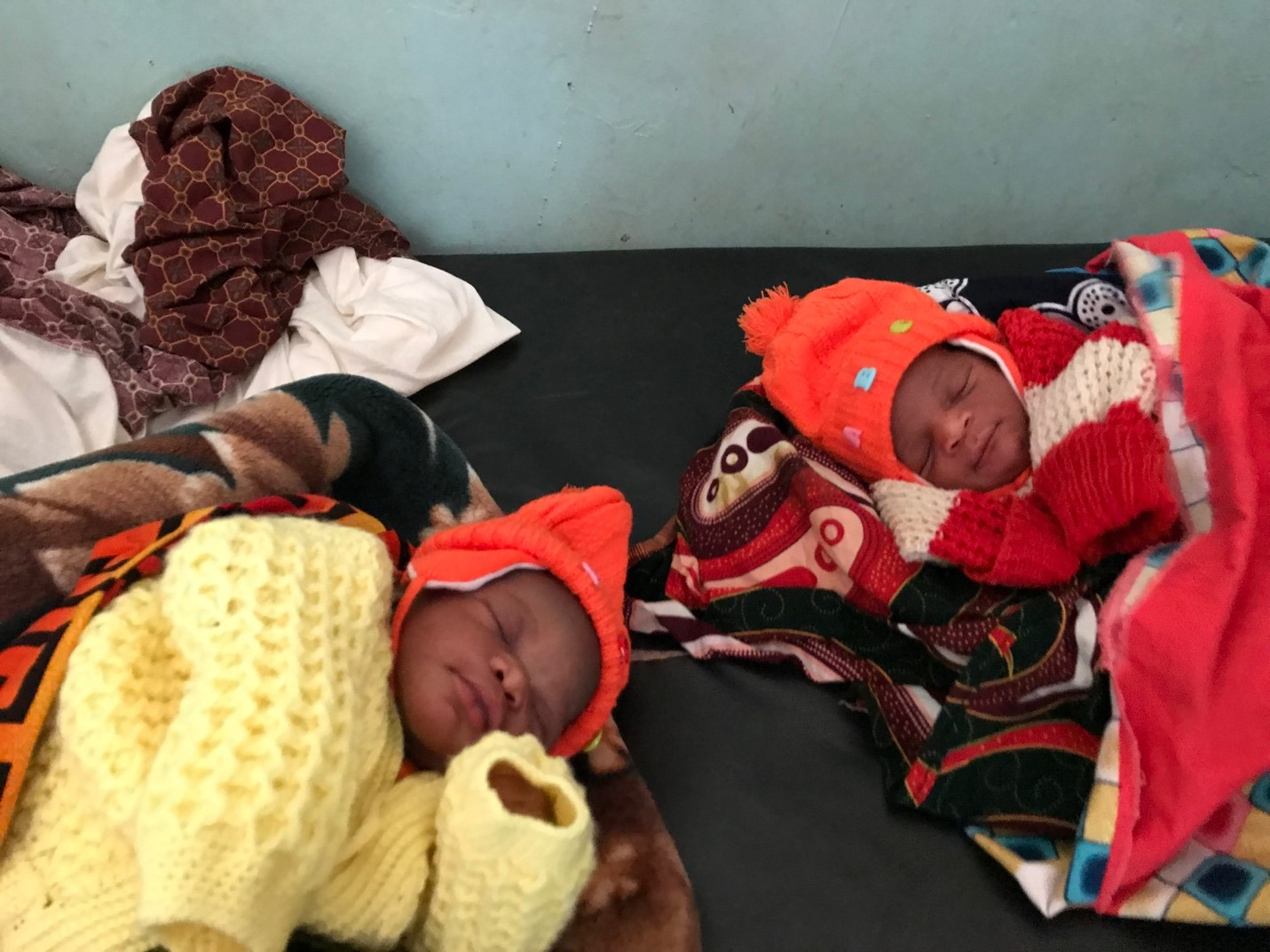 Two babies born the same night at the Ndaiwala Rural Health Center. Faith Presbyterian's gift to complete the solar lighting in the mother care shelter means they and their mothers will have a safer stay.