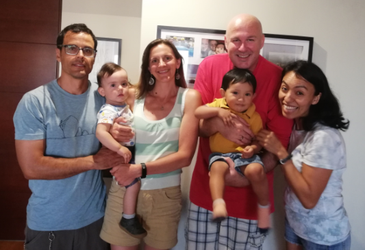 Celebrating with fellow mission co-workers, Jed and Jenny Koball, the second birthday of their son, Thiago.