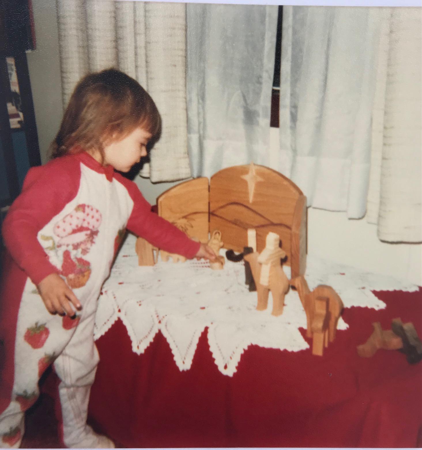 Chenoa setting up the family's nativity scene in 1983.