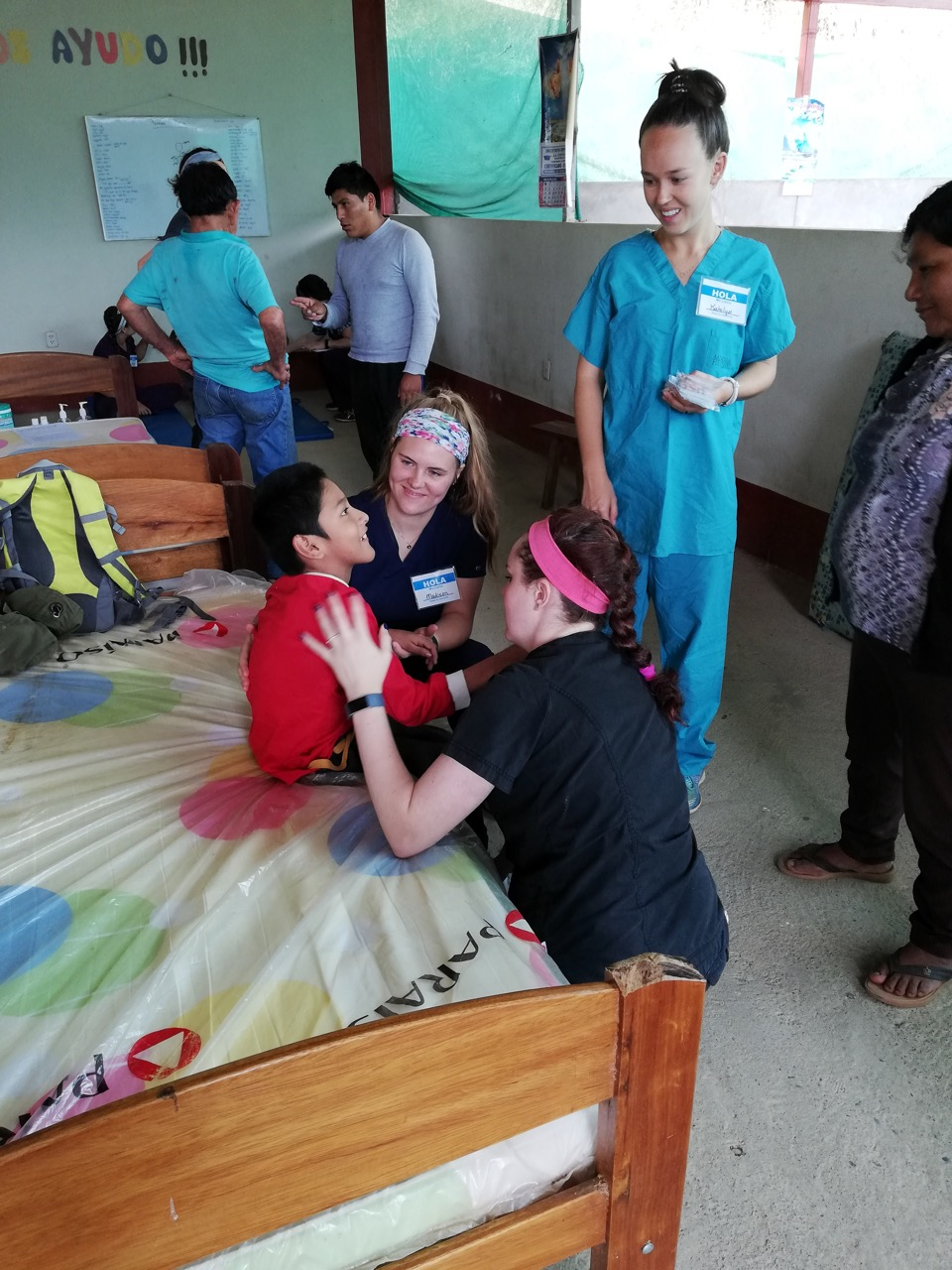 Physical therapists from the First Presbyterian Church Bryan medical team work with community members. San Martín, Peru