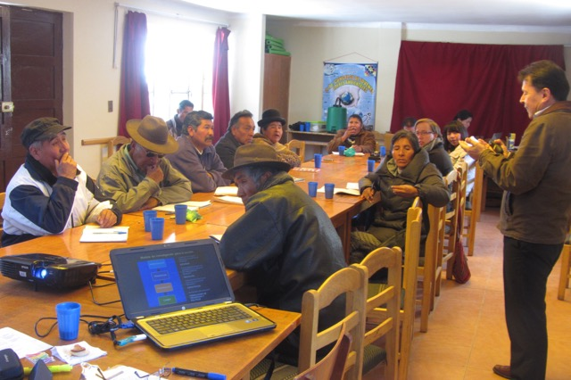 Workshop in Oruro, Bolivia, with Dr. Serrano, who accompanied us in our call for an environmental audit.