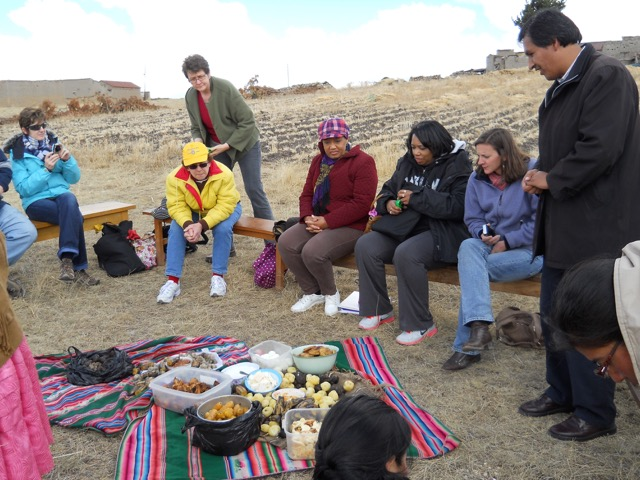 """Delegation visit to the Lutheran Church in El Alto, Bolivia, followed by an """"apthapi"""" potluck (2013)."""