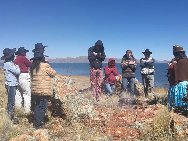 A delegation visiting El Alto, Bolivia, participates in the Creation Celebration (2017).