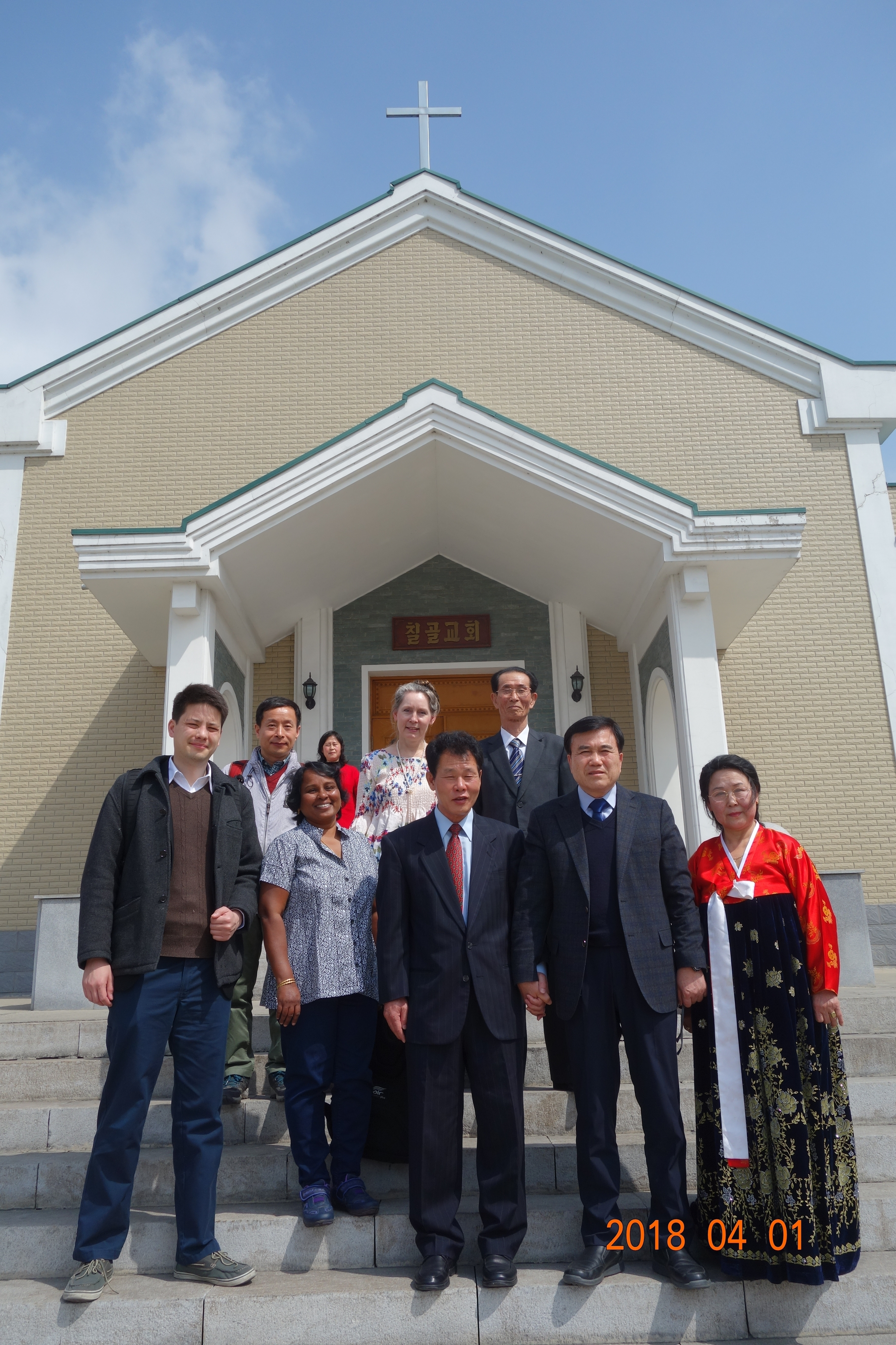 On Easter Sunday at Chigol Church in Pyongyang.