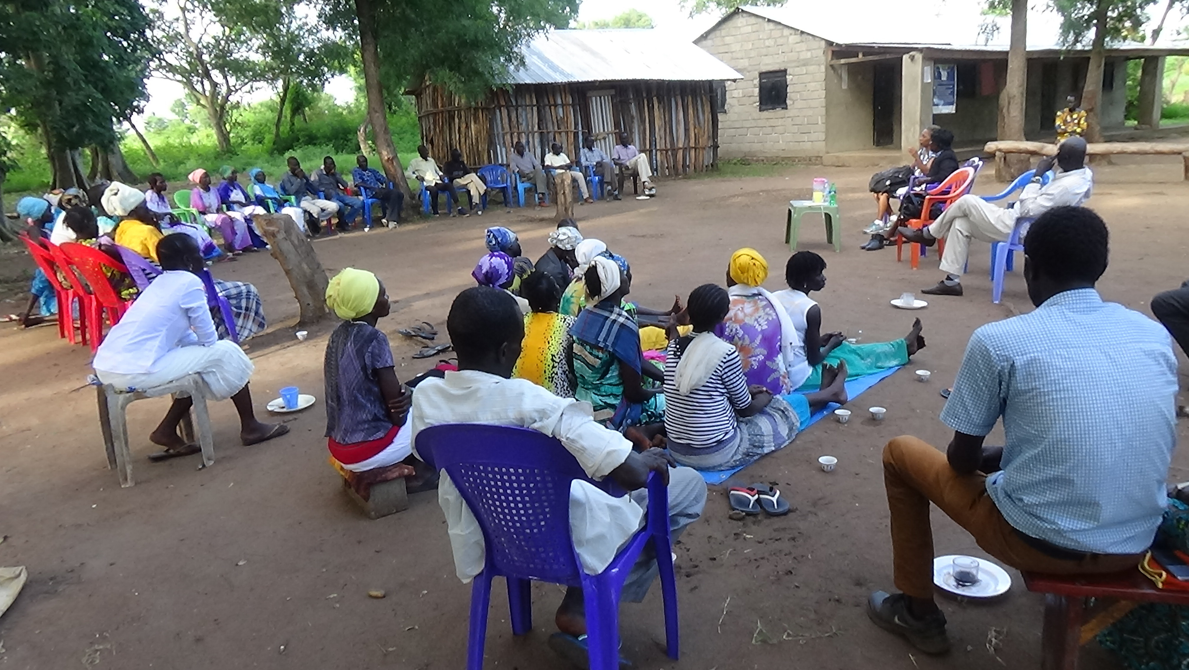 The Pochalla women and church leaders gather with the visitors in front of the PECP Office.