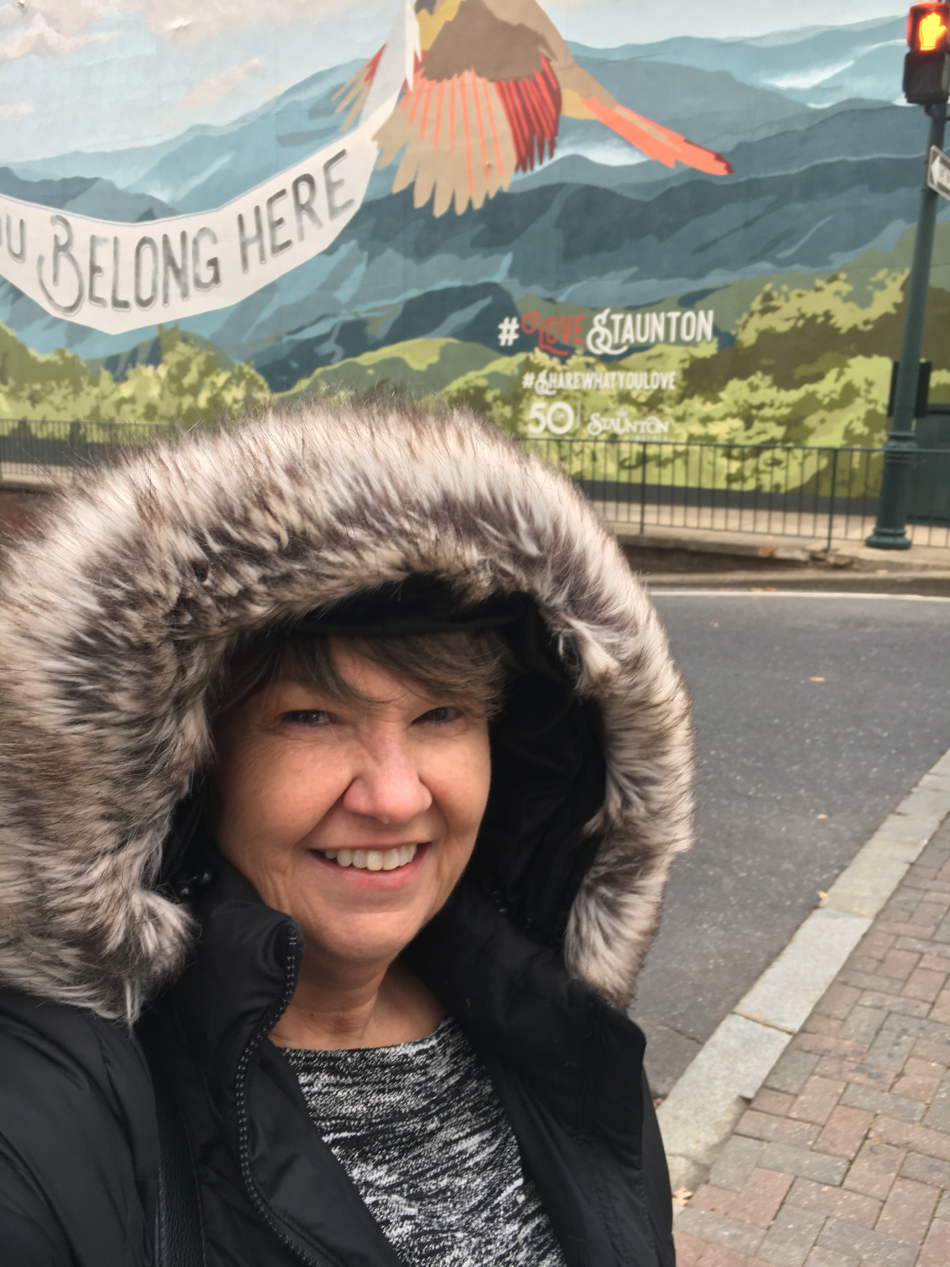 Cindy Corell shivering in Staunton, Va. Though she is unable to be in Haiti because of the extreme violence and unrest, she's continuing accompaniment of the people of Haiti, as well as working closely with U.S. partners.
