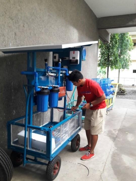 Preparing the SolarPure for use.