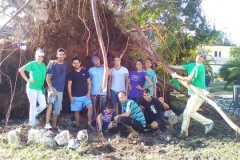 Seminary students underneath the exposed roots of the Laurel Tree.