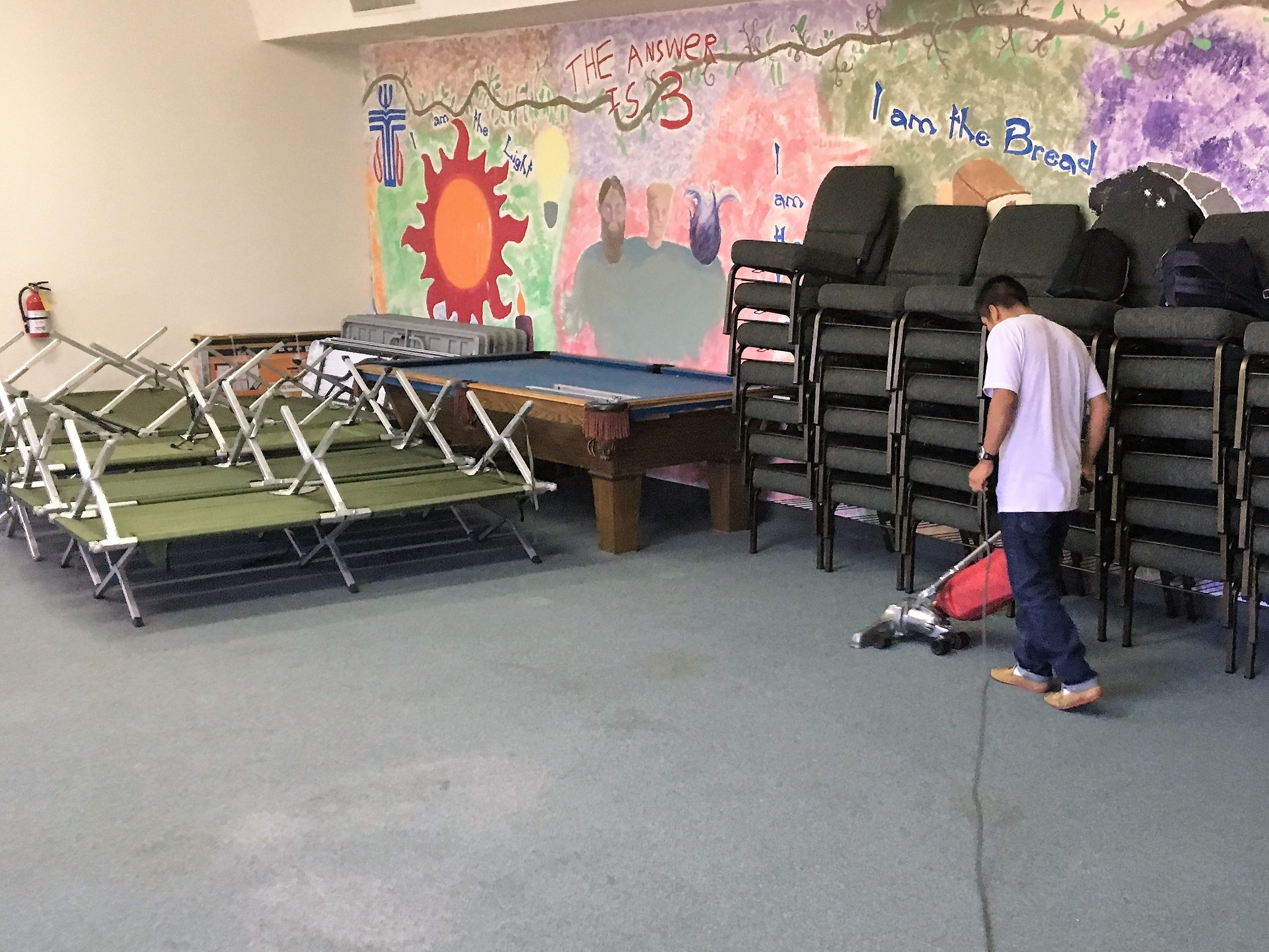Cleanup after hosting the refugees. The City of El Paso lends out the cots.