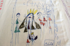 A vignette from the Exodus story on the communion cloth created by children from Crafton Heights United Presbyterian Church in Pittsburgh. (Photo provided)