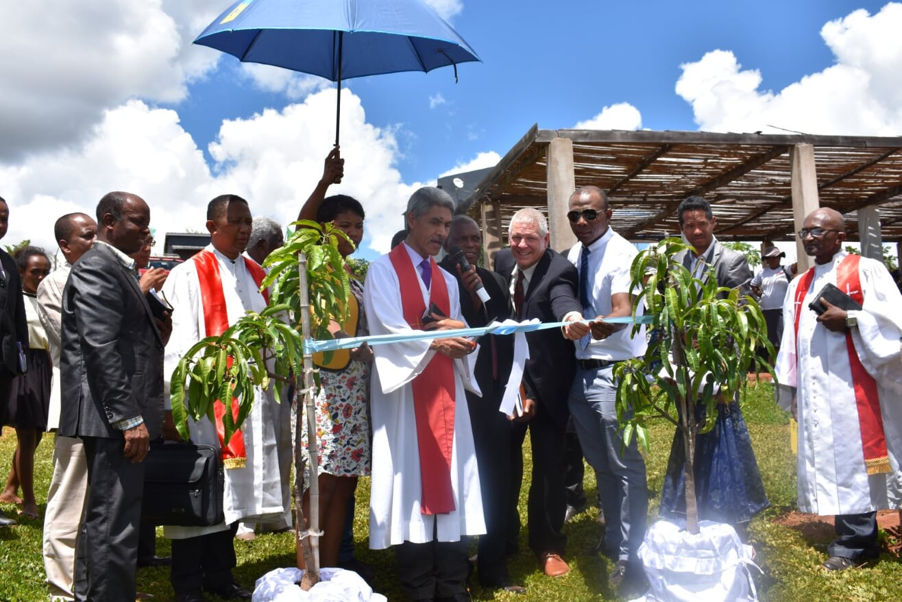 Ribbons were cut to inaugurate the orchard, nursery, and new dormitory building. (Photo credit: Germain Andrianaivoson)