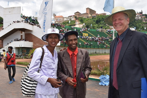Pastor Clara Ranorosoahanitra and her husband, Pastor FetraRandriamanjatomanana, with Dan at the national stadium in Antananarivo after the FJKM worship service, January 20, 2019.