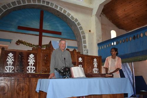 Dan and Pastor Clara Ranorosoahanitra in the Ambalafeno FJKM church (March 1, 2019).