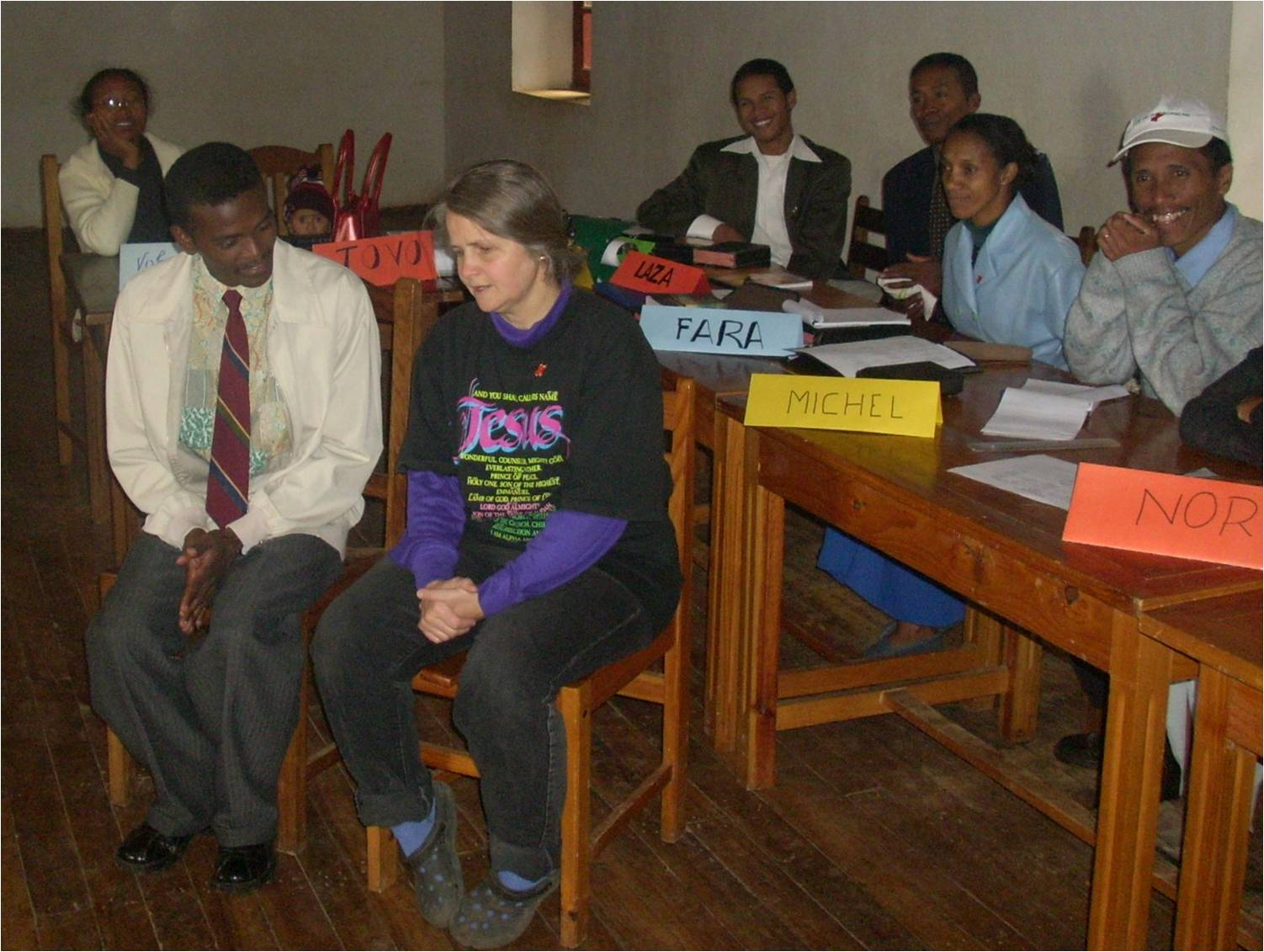 Elizabeth in skit at AIDS training for FJKM seminary students