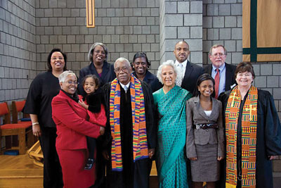 Darius and Vera Swann flanked by family and friends at Burke Presbyterian Church in Lake Ridge, Virginia