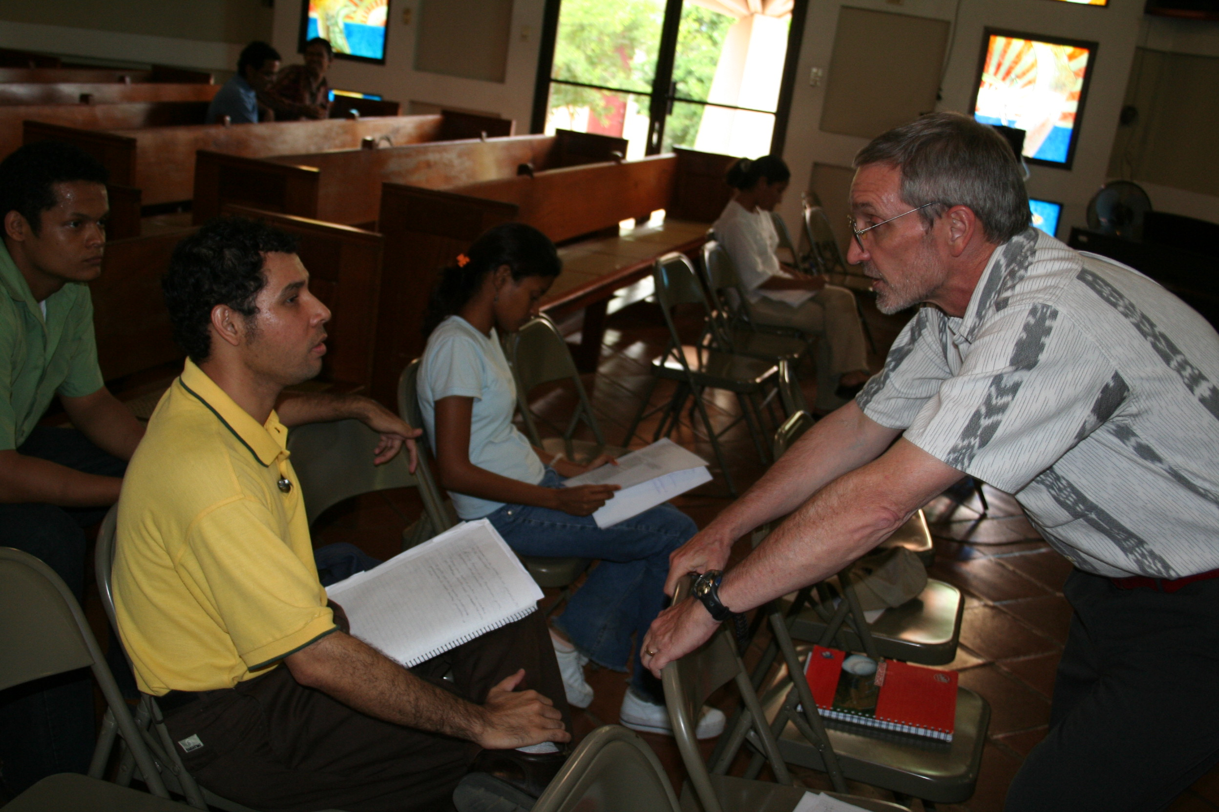 Dennis leads a communication workshop with Nicaraguan church leaders in 2006.