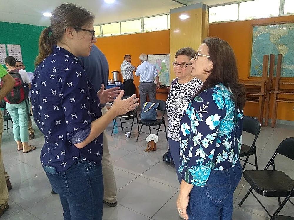 GA Task Force members Caroline Unzaga and Linda Eastwood talk to Blanca Cortés, head of CIEETS, a PC(USA) mission partner in Nicaragua.