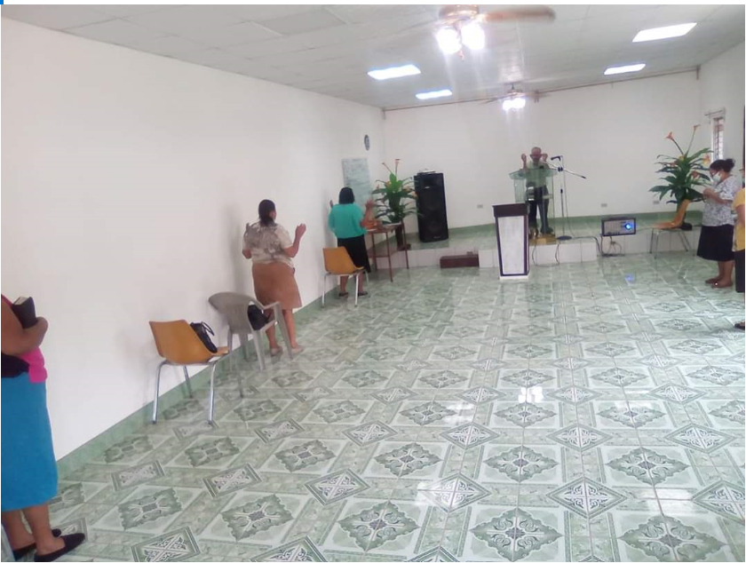 God is in the six feet of distance between us, as we socially distance in order to protect our neighbors and ourselves. Here, worshippers are masked and socially distanced at Roca de Israel Presbyterian Church in Tegucigalpa.