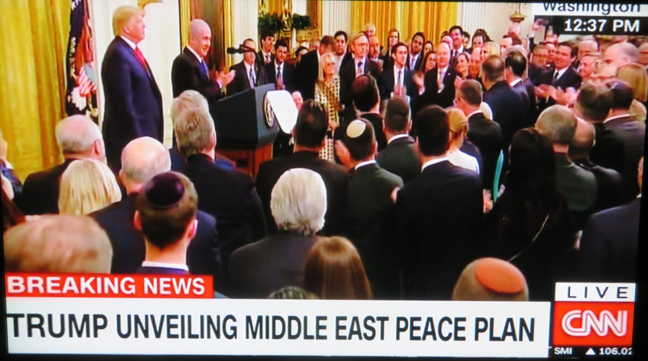 President Trump unveils the Middle East Peace Plan in January at the White House.