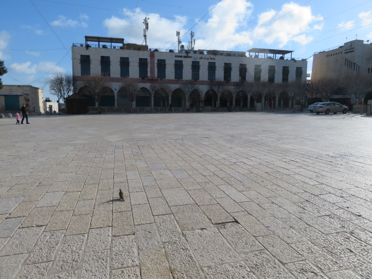 An unusually empty Manger Square in Bethlehem.