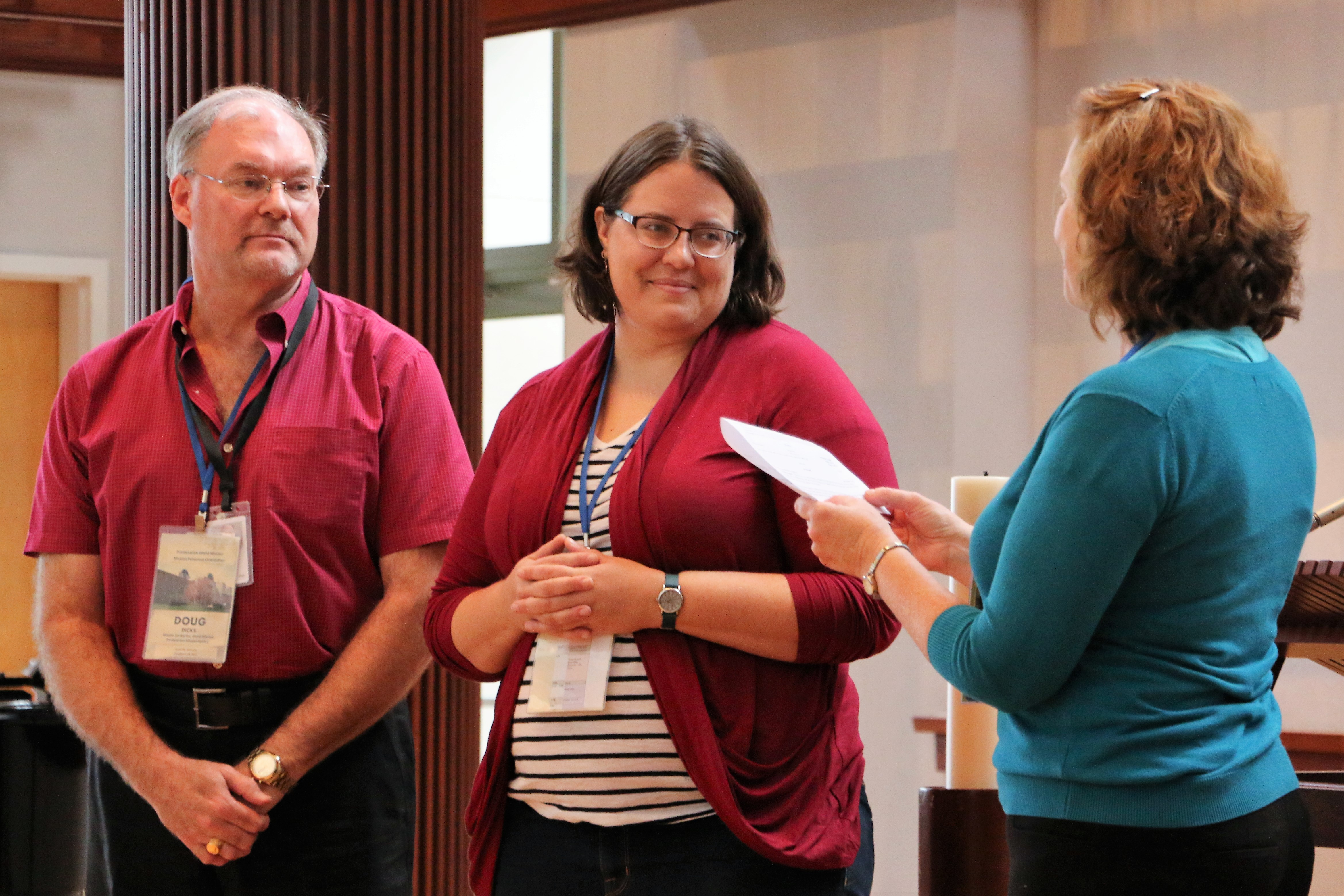 Dori Hjalmarson (center) and I during our Service of Blessing at the Presbyterian (USA) Center in Louisville, KY. With us is Michelle Lori (right), who coordinated our mission orientation.