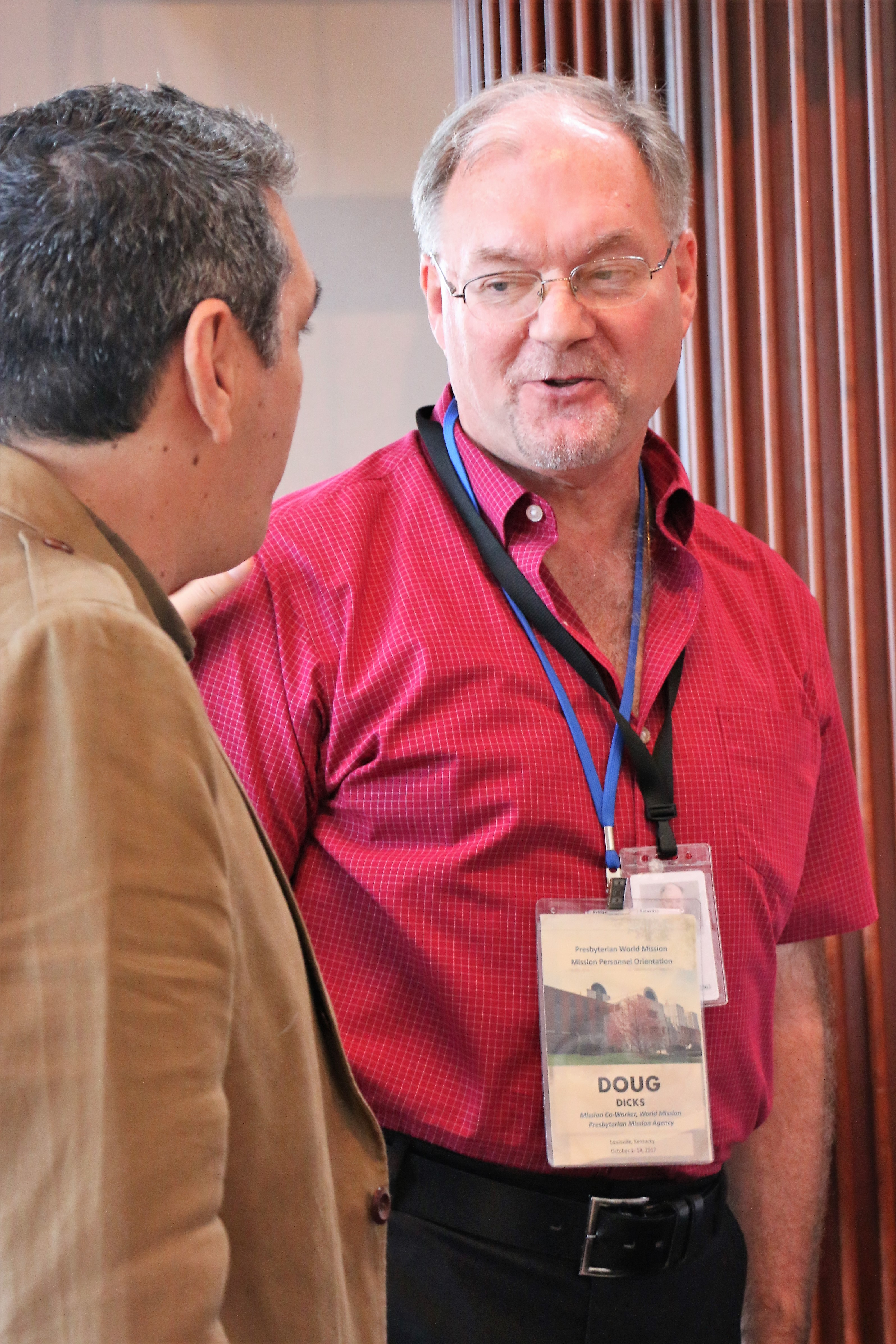 Exchanging a word with Valdir Franca, Area Coordinator for Central and Latin America, where Dori Hjalmarson will be serving.
