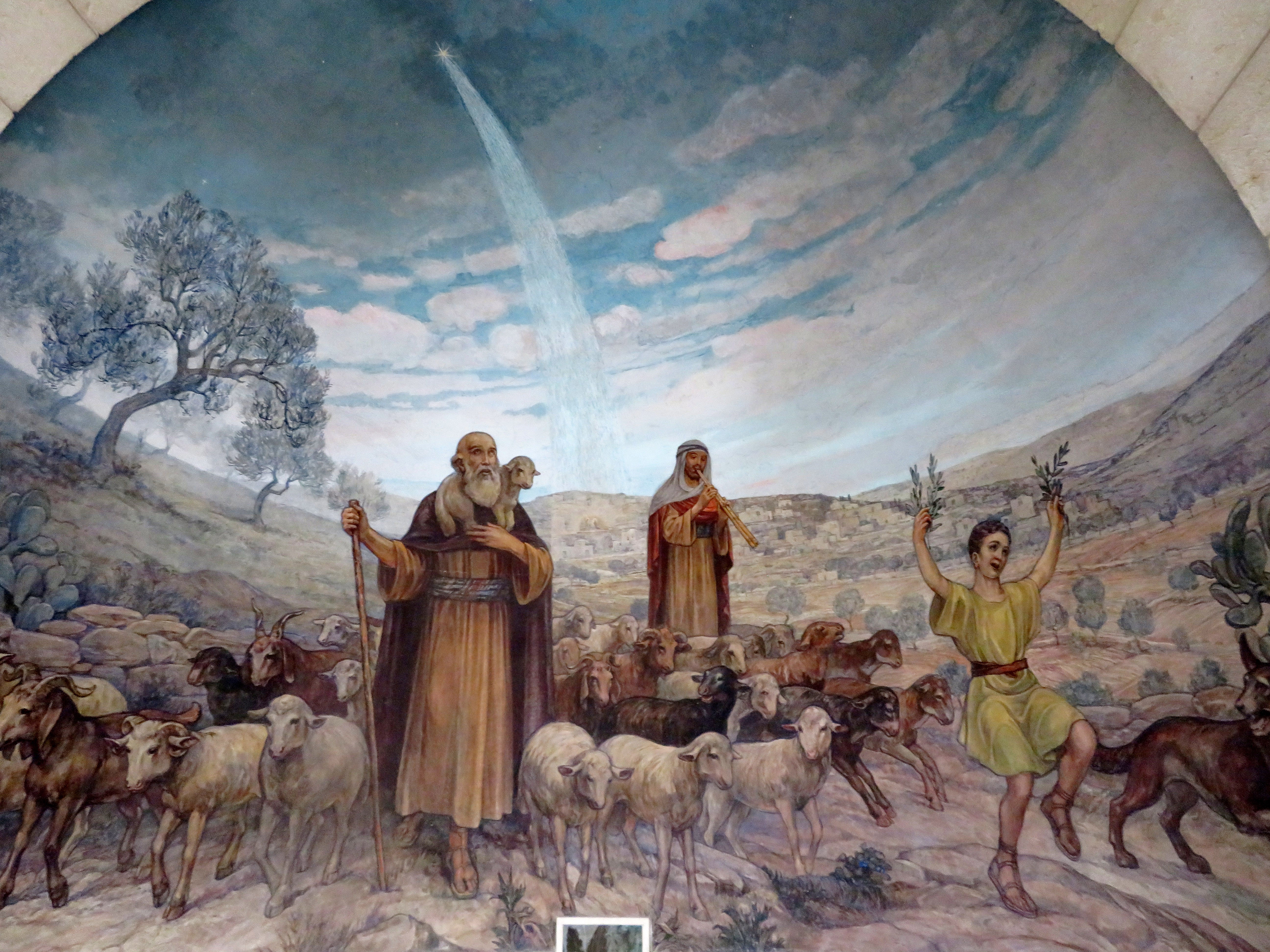 A fresco in the Chapel of the Angels shows the joy of the shepherds, upon returning to their homes and flocks.
