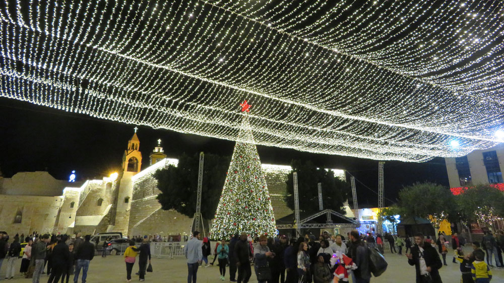 Manger Square, Bethlehem, all decked out for Christmas.